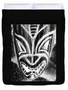 Hawaiian Mask Negative Black And White Duvet Cover
