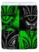 Hawaiian Masks Black Green Duvet Cover