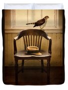 Hawk And Fedora On Chair Duvet Cover