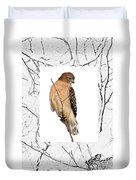 Hawk Framed In Branch Outline Duvet Cover