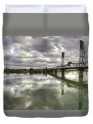 Hawthorne Bridge Over Willamette River Duvet Cover
