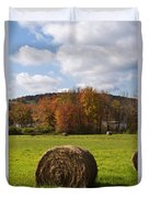 Hay Bale In Country Field Duvet Cover