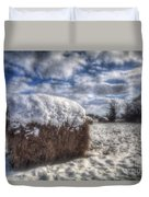 Hay Bale In The Snow Duvet Cover