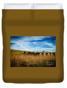 Hay Bales And Contrails Duvet Cover