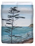 Hay Stack Rock From The South On The Oregon Coast Duvet Cover