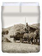 Horse-drawn Hay Wagon Carmel Valley California Circa 1905 Duvet Cover