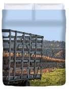 Hay Wagon In Field Duvet Cover