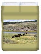 Hayden Valley Bison Herd In Yellowstone National Park Duvet Cover