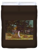 Haymaking  Duvet Cover by Elizabeth Adela Stanhope Forbes