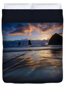 Haystack Rock And The Needles Duvet Cover