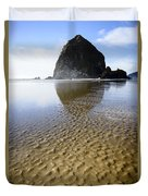 Haystack Rock At Cannon Beach Duvet Cover