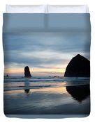 Haystack Rock On Cannon Beach Oregon Duvet Cover