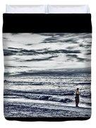 Hdr Black White Color Effect Fisherman Beach Ocean Sea Seascape Landscape Photography Image Photo  Duvet Cover