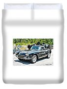 Chevrolet Corvette Vintage With Curly Background Duvet Cover