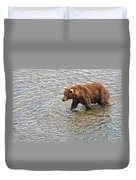 Head Grizzly Bear With Intense Fishing  Focus For Salmon In Moraine River In Katmai Np-ak Duvet Cover