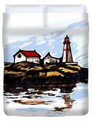 Head Harbour Lighthouse - Field Sketch Duvet Cover