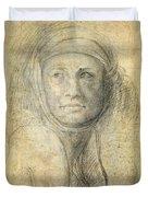 Head Of A Woman Duvet Cover by Michelangelo Buonarroti