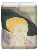 Head Of A Woman Wearing A Hat Duvet Cover