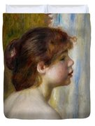 Head Of A Young Woman Duvet Cover by Pierre Auguste Renoir