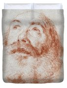 Head Of An Old Man Looking Up Duvet Cover