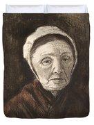 Head Of An Old Woman In A Scheveninger Duvet Cover