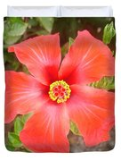 Head On Shot Of A Red Tropical Hibiscus Flower Duvet Cover