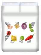 Healthy Food Border On White Duvet Cover