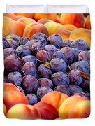 Heap Of Fresh Organic Peaches And Damson Plums  Duvet Cover