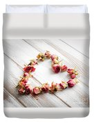 Heart From Dry Rose Buds Duvet Cover