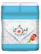 Heart On Snow With Rose Duvet Cover