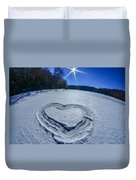 Heart Outlined On Snow On Topw Of Frozen Lake Duvet Cover
