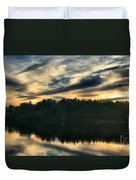 Heart Pond Sunset Duvet Cover