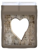 Heart Shape Carved Into A Plank Duvet Cover