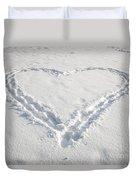 Heart Shape In Snow Duvet Cover