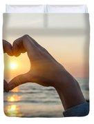 Heart Shaped Hands Framing Ocean Sunset Duvet Cover