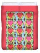 Hearts A'la Stained Glass Duvet Cover