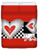 Hearts On A Chessboard Duvet Cover