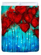Hearts On Fire - Romantic Art By Sharon Cummings Duvet Cover