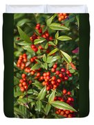 Heavenly Bamboo Red Berries Duvet Cover
