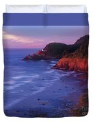 Heceta Head Lighthouse At Sunset Oregon Coast Duvet Cover