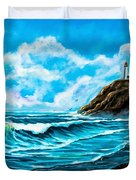 Heceta Head Lighthouse Oregon Coast Original Painting Forsale Duvet Cover