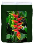Heliconia Rostrata 2 - A Blooming Heliconia Rostrata Flower Duvet Cover