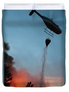 Helicopter Drops Water On White Draw Fire Duvet Cover
