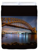 Hell Gate And Triboro Bridge By Night Duvet Cover