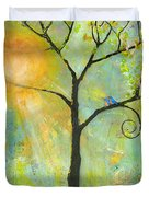 Hello Sunshine Tree Birds Sun Art Print Duvet Cover by Blenda Studio
