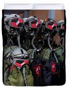Helmets And Flight Gear Of Hellenic Air Duvet Cover
