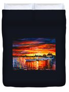 Helsinki Sailboats At Yacht Club Duvet Cover by Leonid Afremov