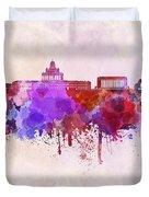 Helsinki Skyline In Watercolor Background Duvet Cover