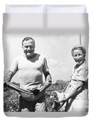 Hemingway, Wife And Pets Duvet Cover by Underwood Archives