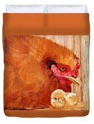 Hen With Chick On Wood Duvet Cover